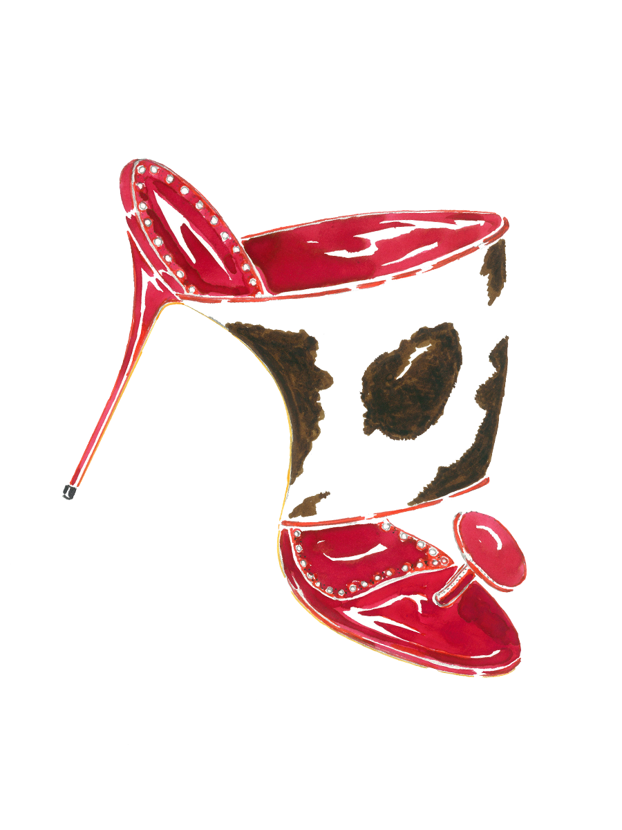 A watercolour ink sketch of Lola. A  high heeled slip-on sandal in cow print.