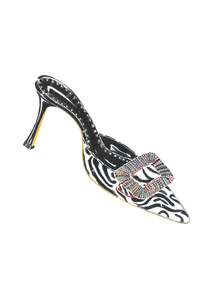 A sketch of the Mafrisa mule. A low heeled mule in a zebra print, with a multicoloured jewelled buckle.