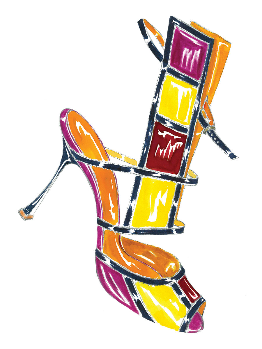A watercolour ink sketch of Tendona, a high-heeled sandal featuring a tall panel with squares in red, yellow and fuchsia.