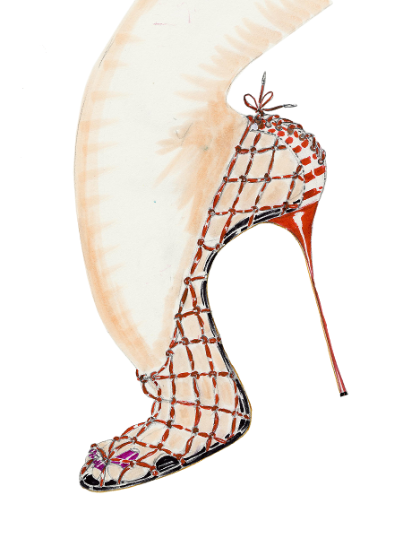 A watercolour ink sketch of The Net shoe. A Caucasian foot inside a stiletto high heeled shoe made of a red open mesh weave.