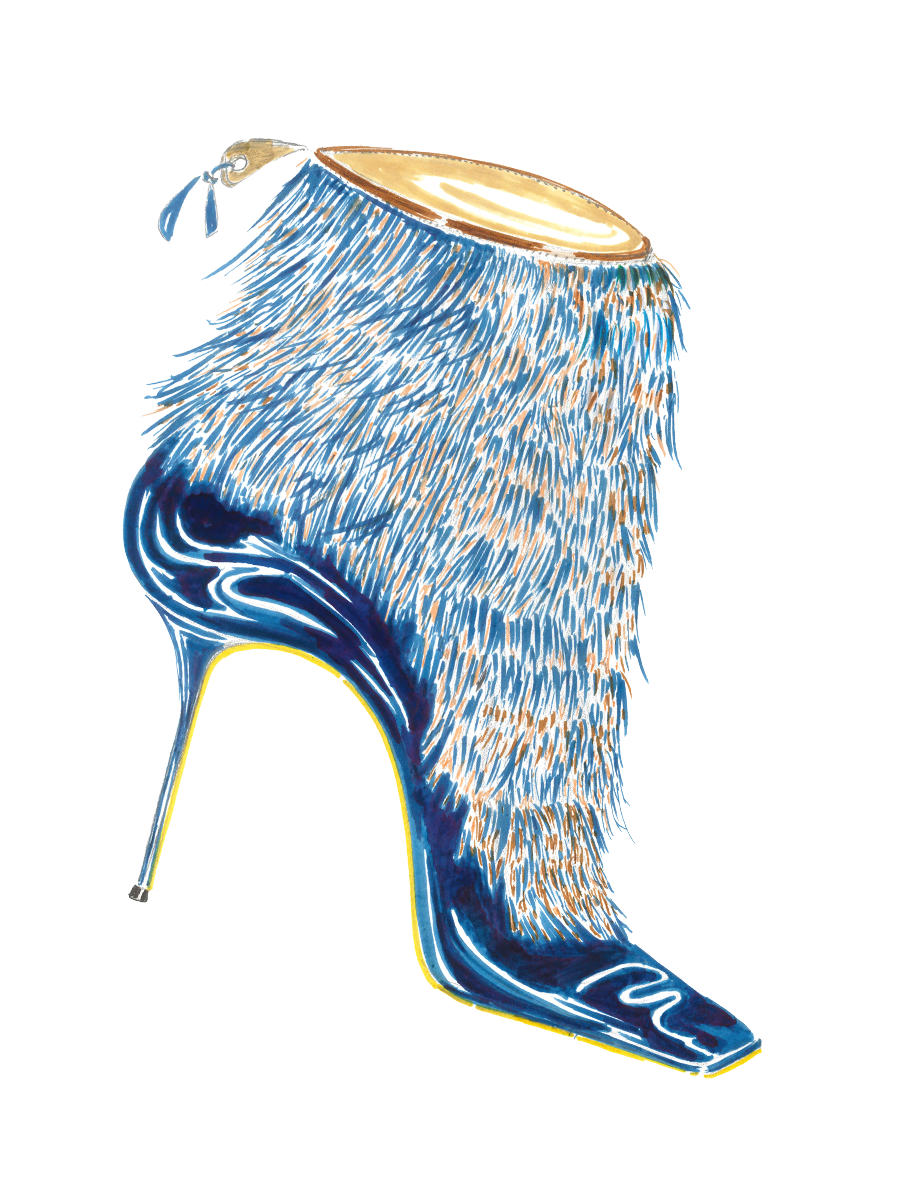 A watercolour ink sketch of Artyon, a blue ankle boot. The high-heeled boot is covered in small blue and yellow feathers.