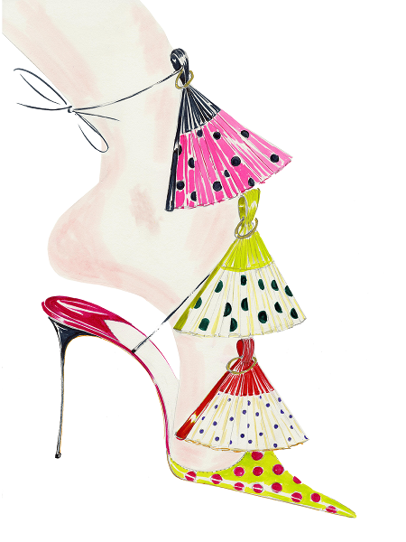 A sketch of the Abanico de Sevilla fantasy shoe. Polka dot fans on the front of the shoe to represent flamenco dancers.