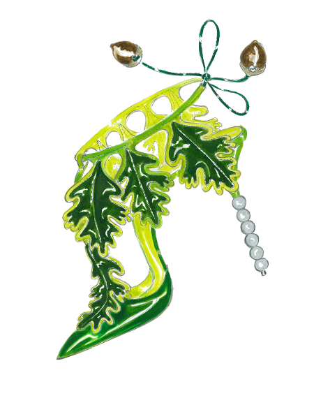A sketch of Acantus. A green shoe, with oak leaf shapes. The heel is shaped as a series of baubles.