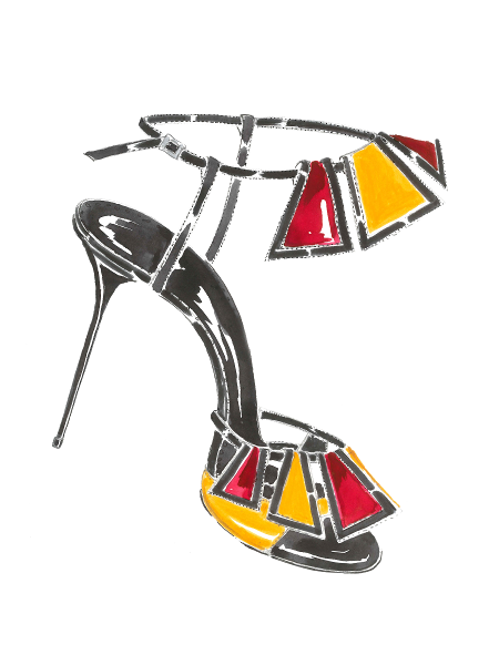 A watercolour ink sketch of Chamba. A black high-heeled, open toe sandal featuring panels of red and yellow suede.