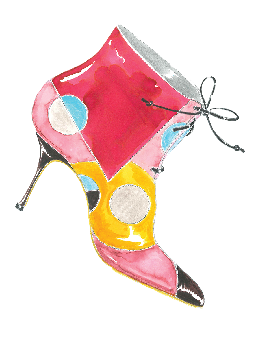 A watercolour ink sketch of Hilaria, a light pink lace-up bootie with Picasso-inspired patterns.