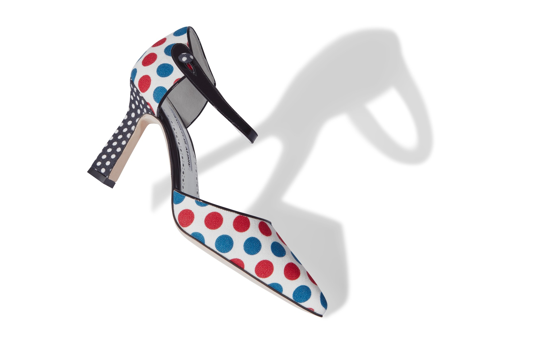 Multicoloured Polka Dot Linen D'Orsay Pumps