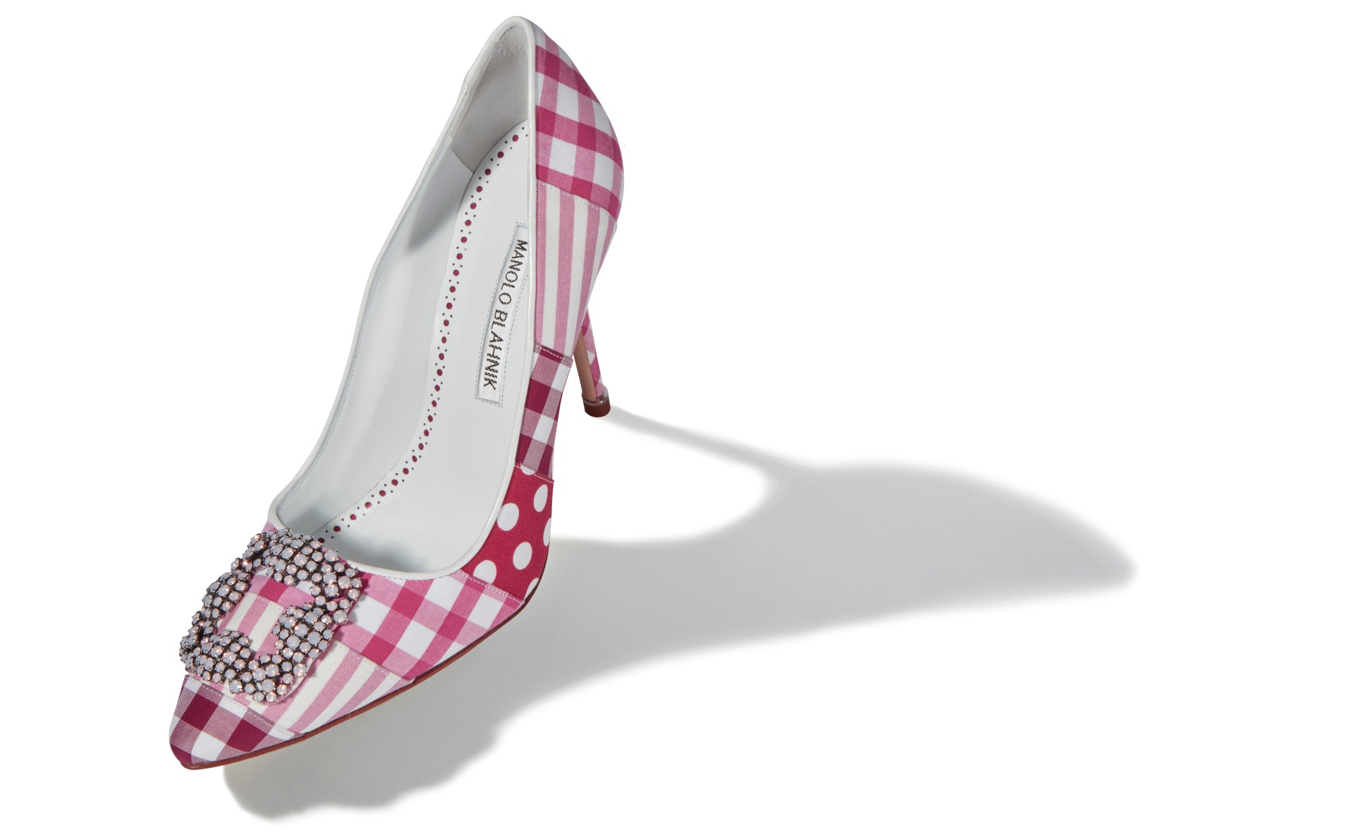 Pink Patchwork Cotton Jewel Buckle Pumps