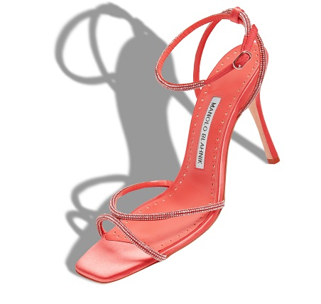 Coral satin sandal with diamante detail