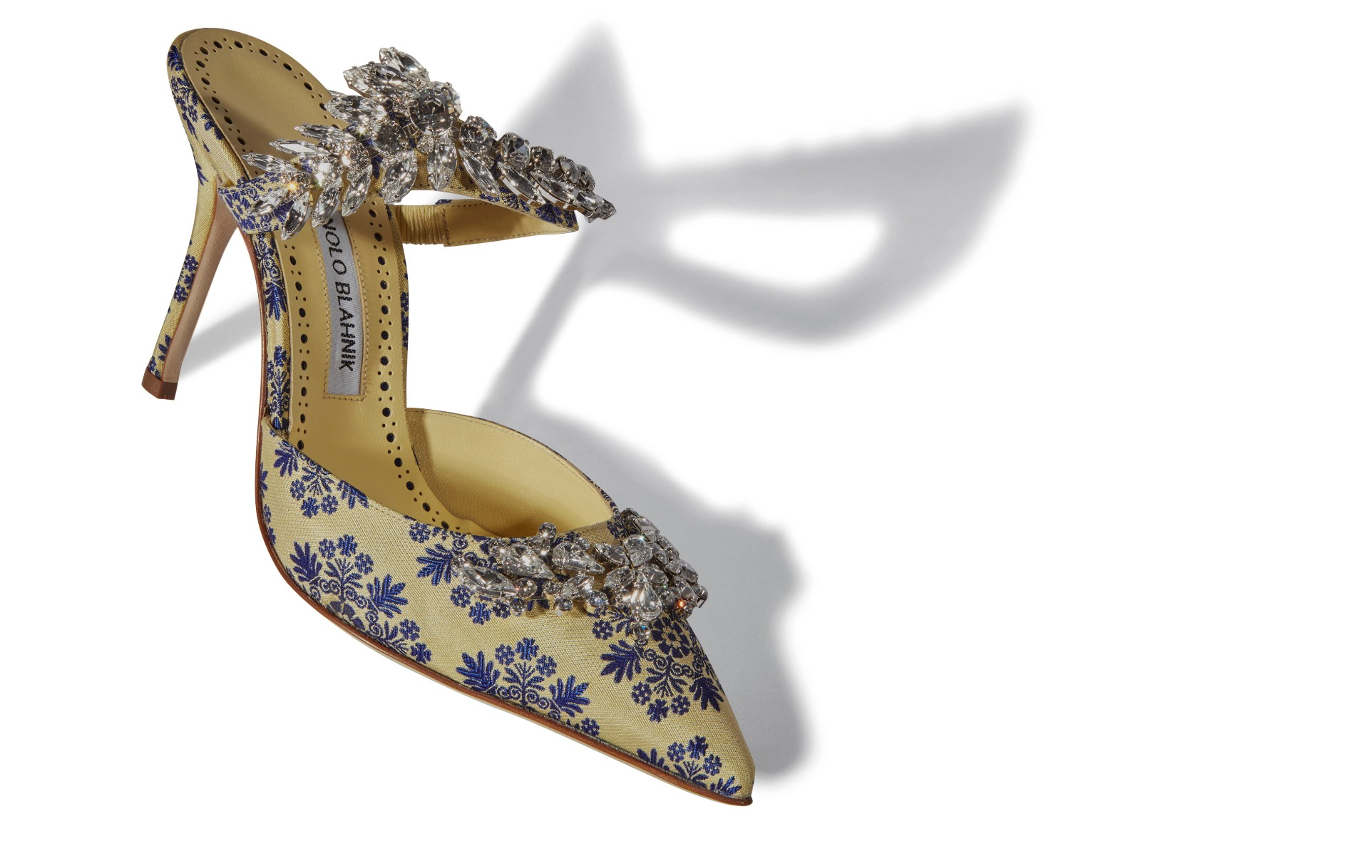 Yellow and Lilac Brocade Jewel Buckle Mules