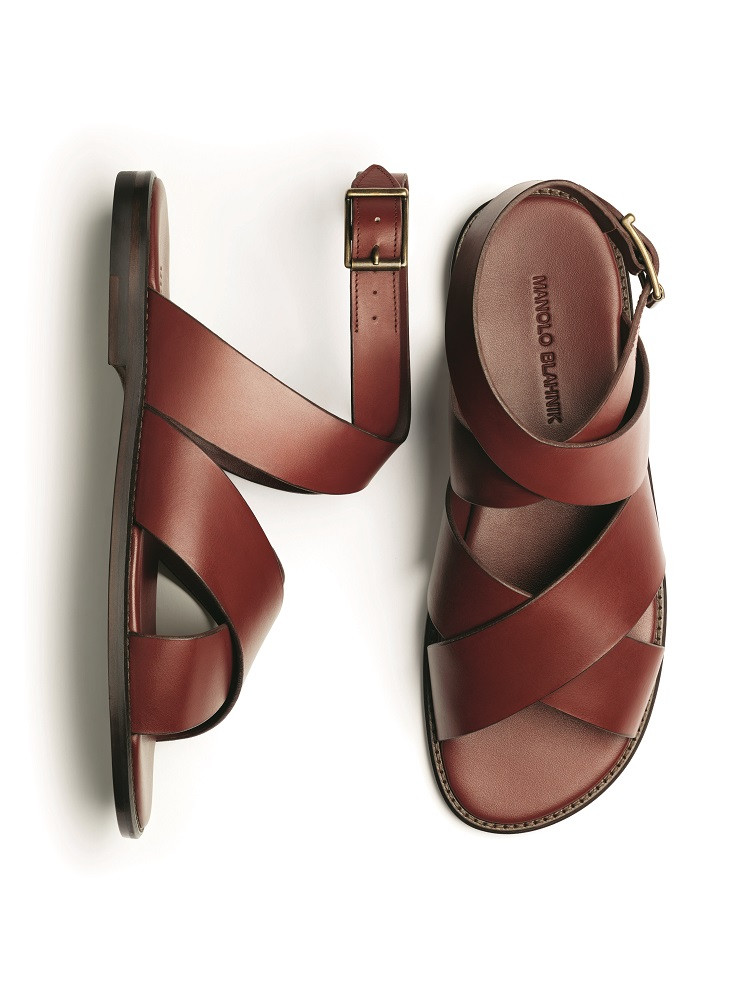 men's brown calf leather sandals