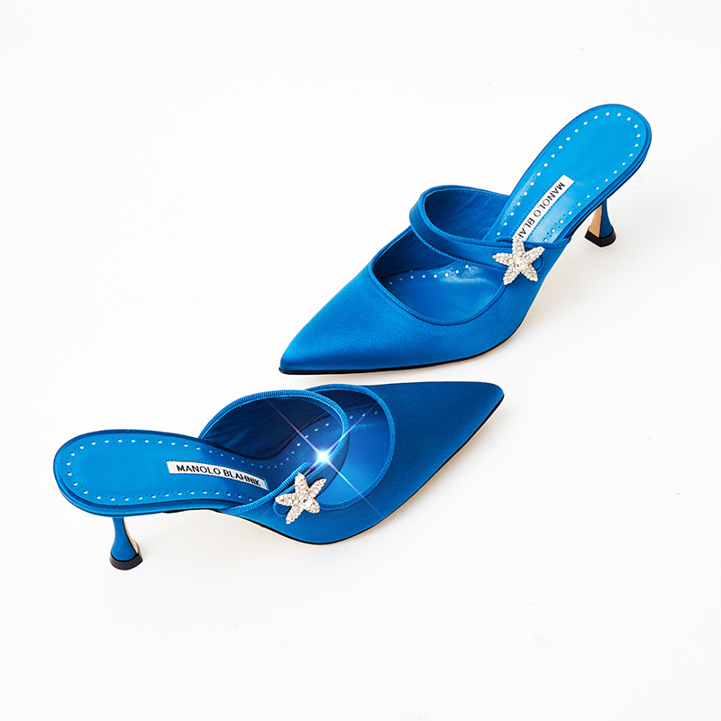 Editorial image of the blue crystal star embellished mary jane mule, Galaximu.