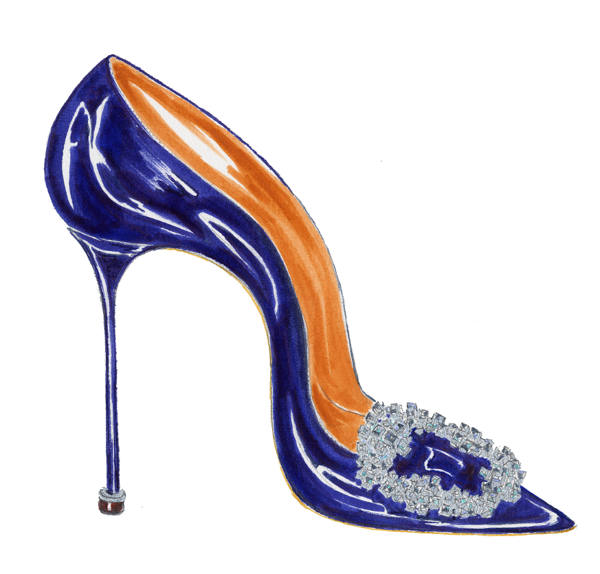 A sketch of a blue shoe