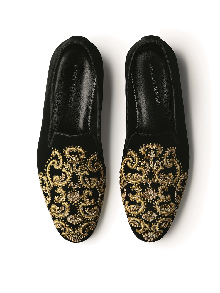 Men's velvet slippers with gold embroidery pattern