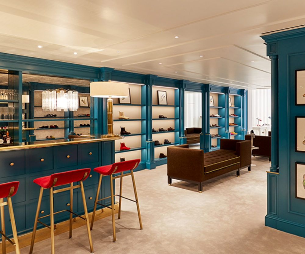 Internal view of the men's wing at the 717 boutique