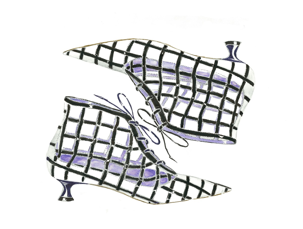 a sketch of a black and white shoe