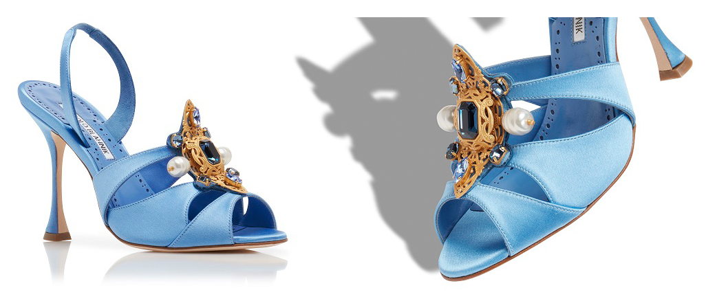 Blue crepe sandals with gold embellishment