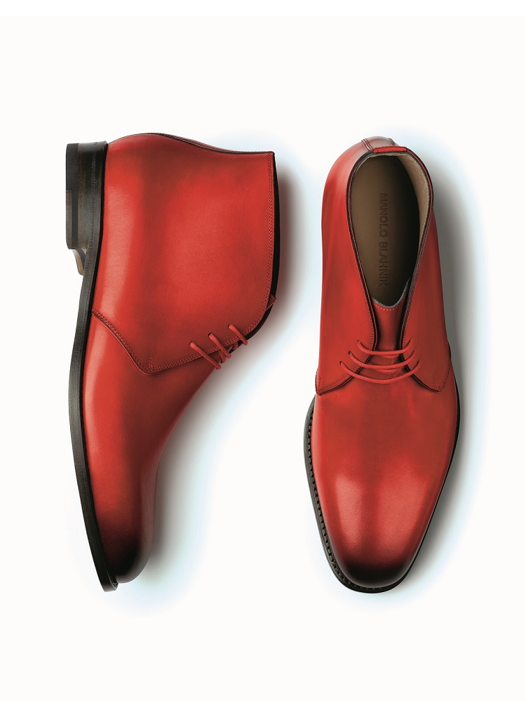 men's red calf leather desert boot