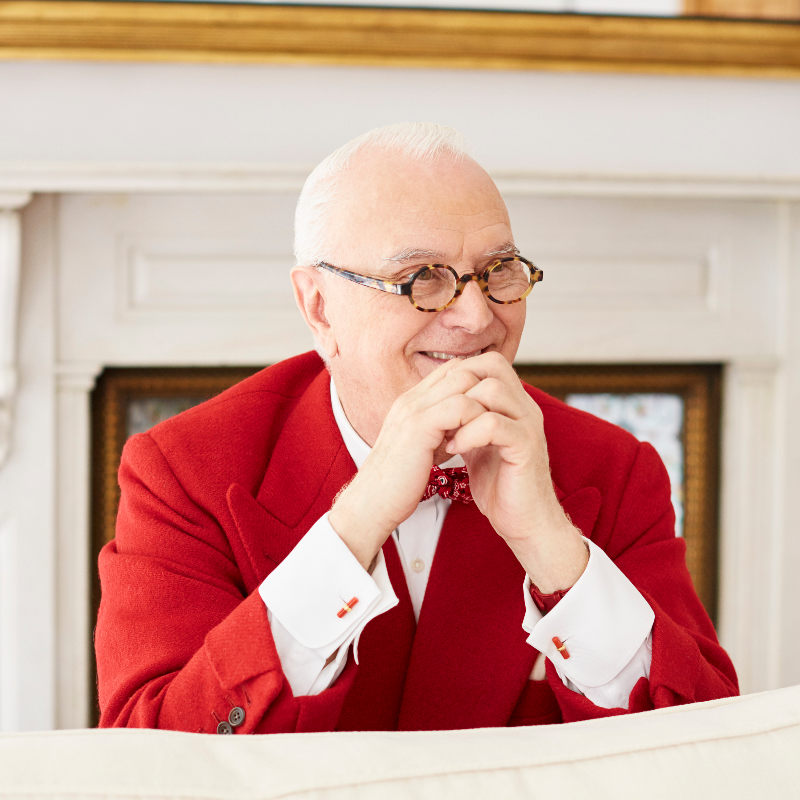 The picture of smiling Mr. Manolo Blahnik