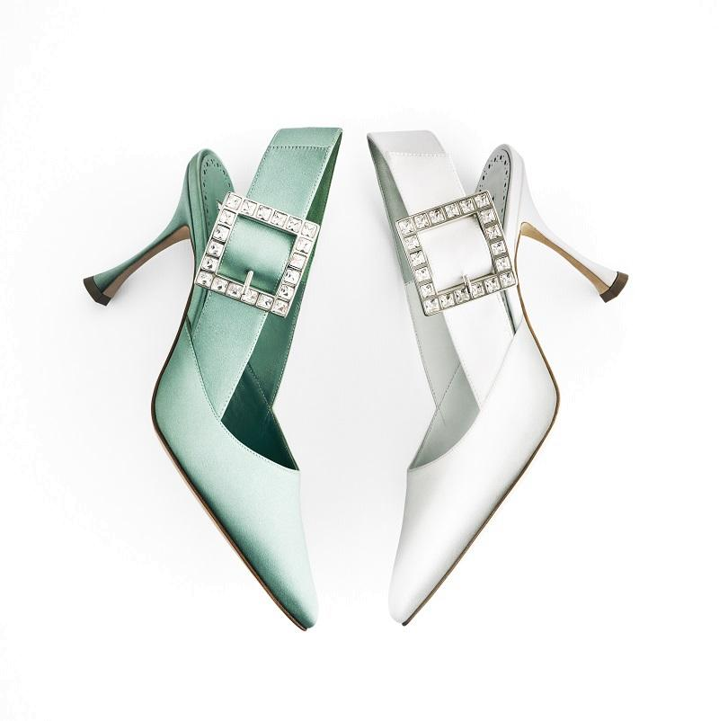 pale turquoise and white satin slingback pumps