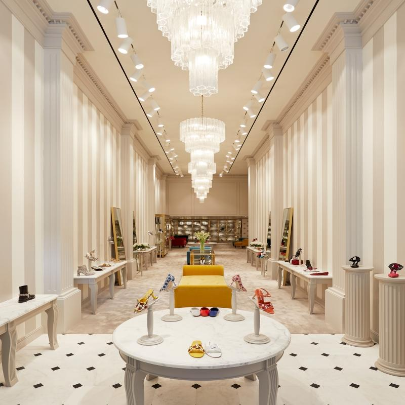 Internal view of the women's section at the Manolo Blahnik 717 boutique.