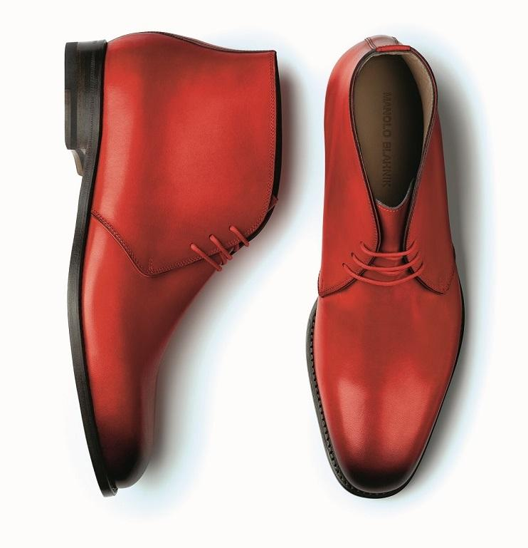 The Men's collection. A pair of men's red calf leather desert boots.