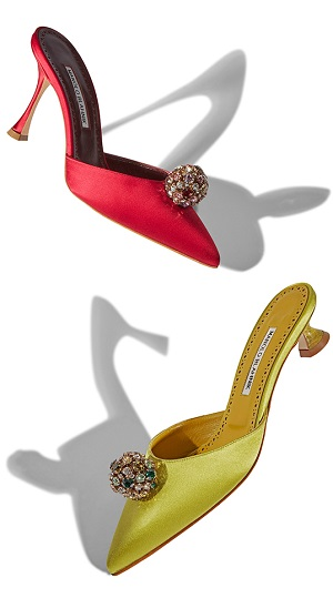 an image of yellow and red satin mules with a crystal embellishment
