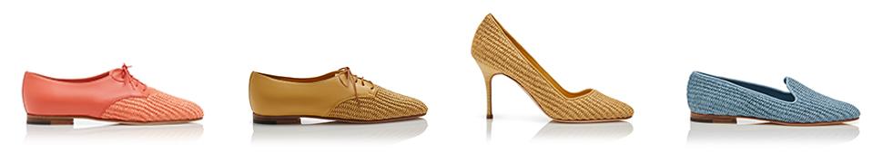A series of pastel raffia shoes
