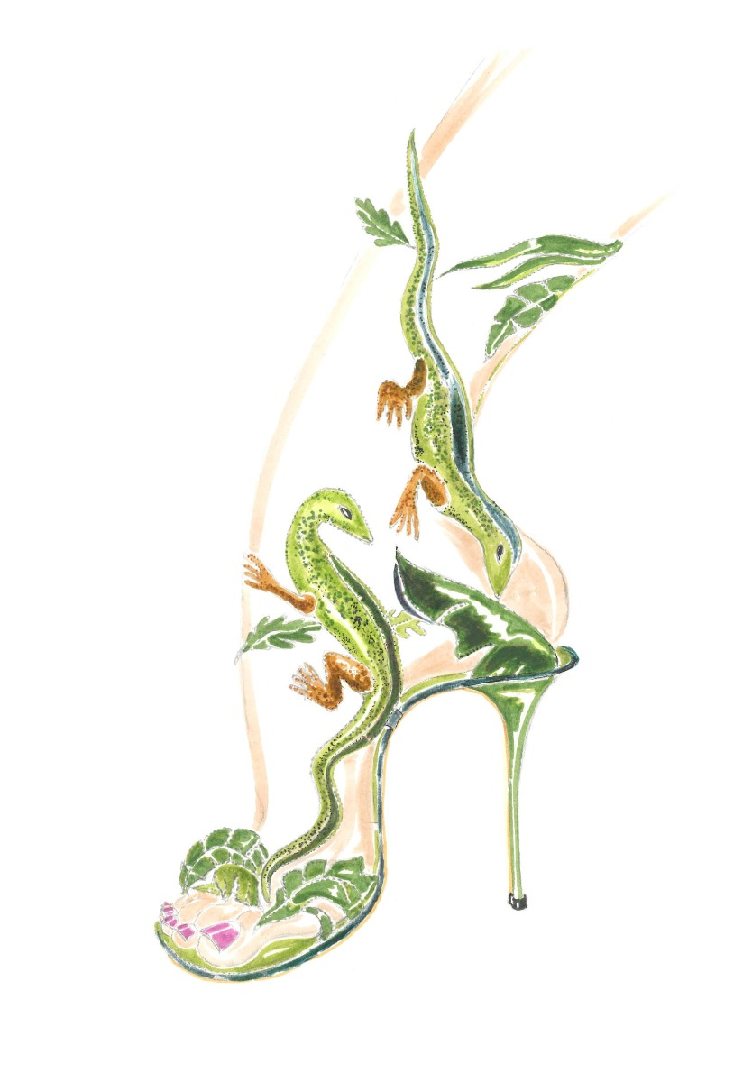 A hand drawn ink sketch of the Lagarta shoe, by Manolo Blahnik. It is a high heeled sandal featuring lizards and leaves.