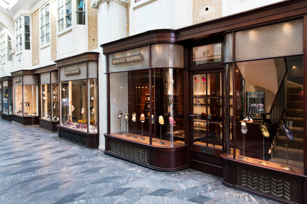 An outside view of the Manolo Blahnik Men's store in Burlington Arcade, London.