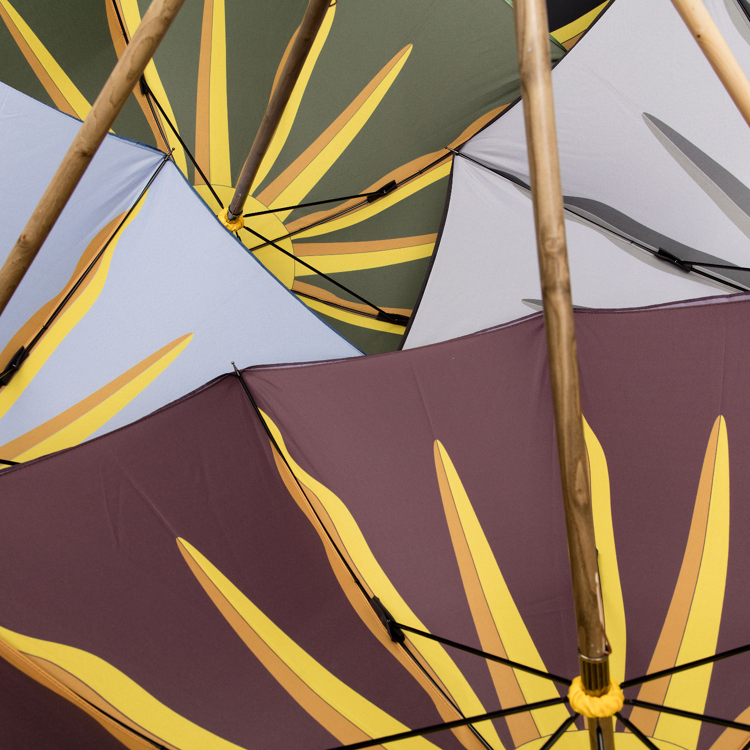 Four open umbrellas overlapping each other. They are in green, grey, pale blue and burgundy with a sunburst print.