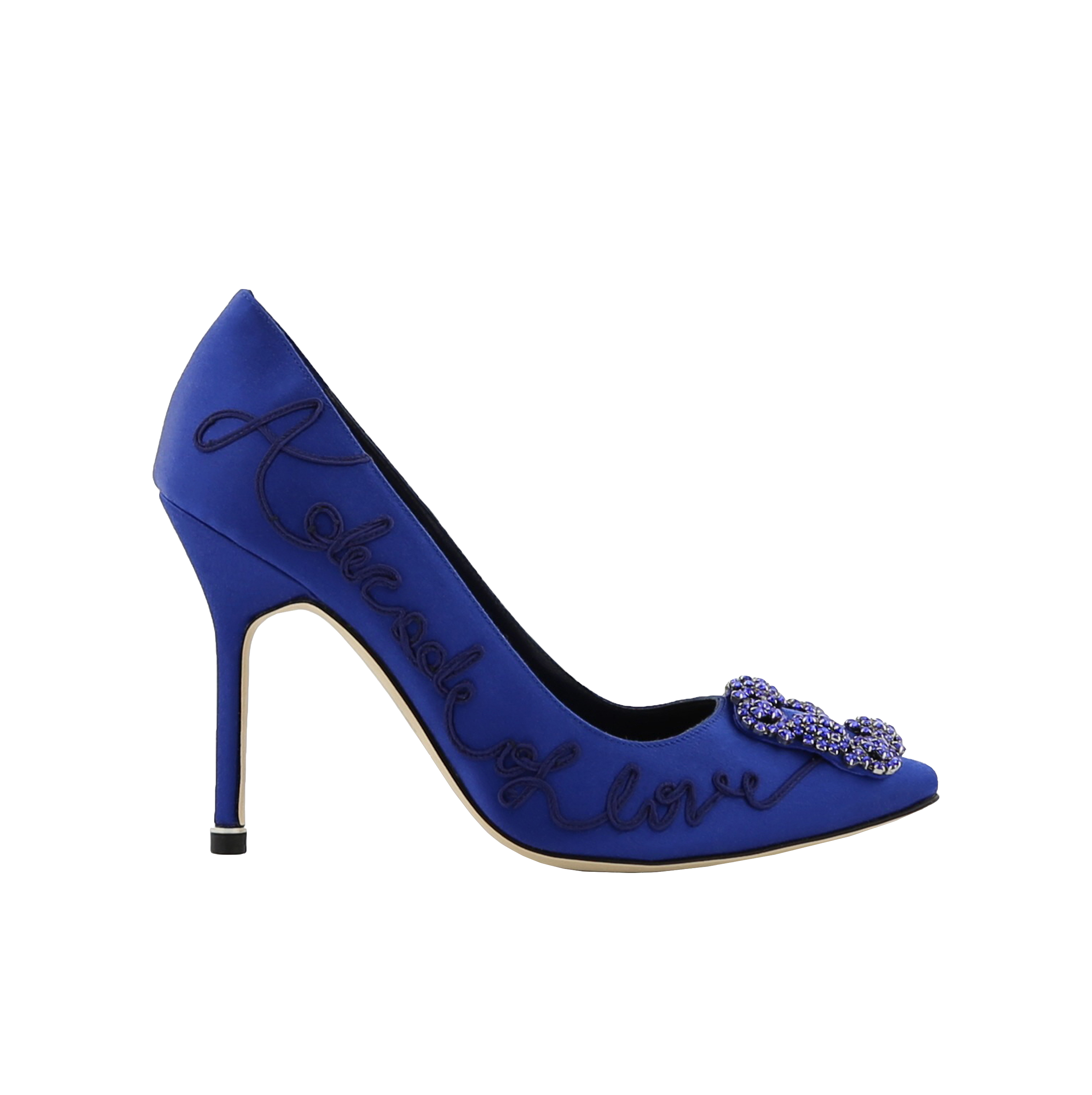 Blue Embroidered Satin Jewel Buckle Pumps