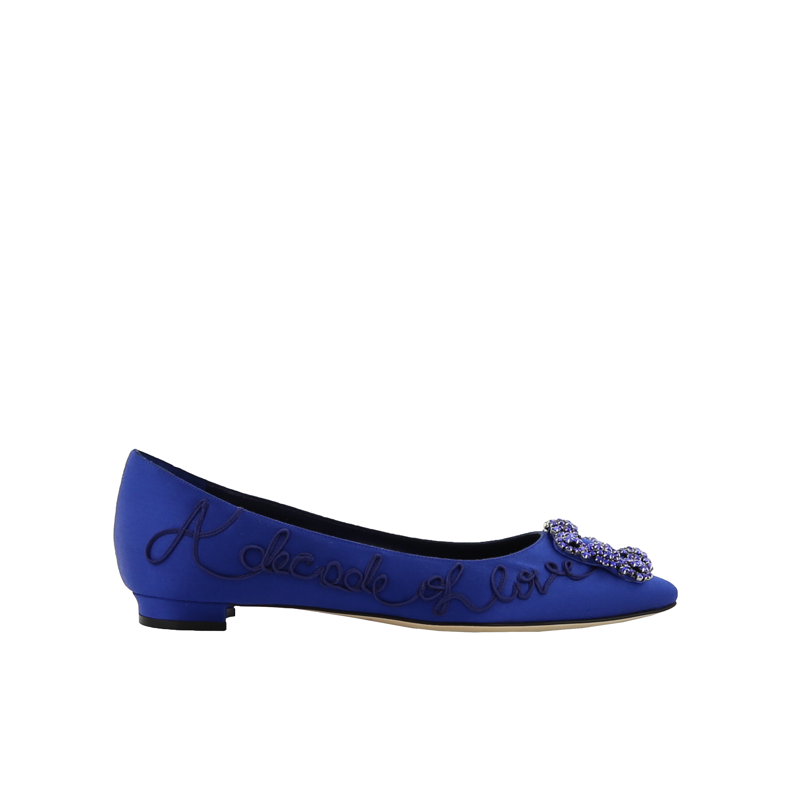 Blue Embroidered Satin Jewel Buckle Flats