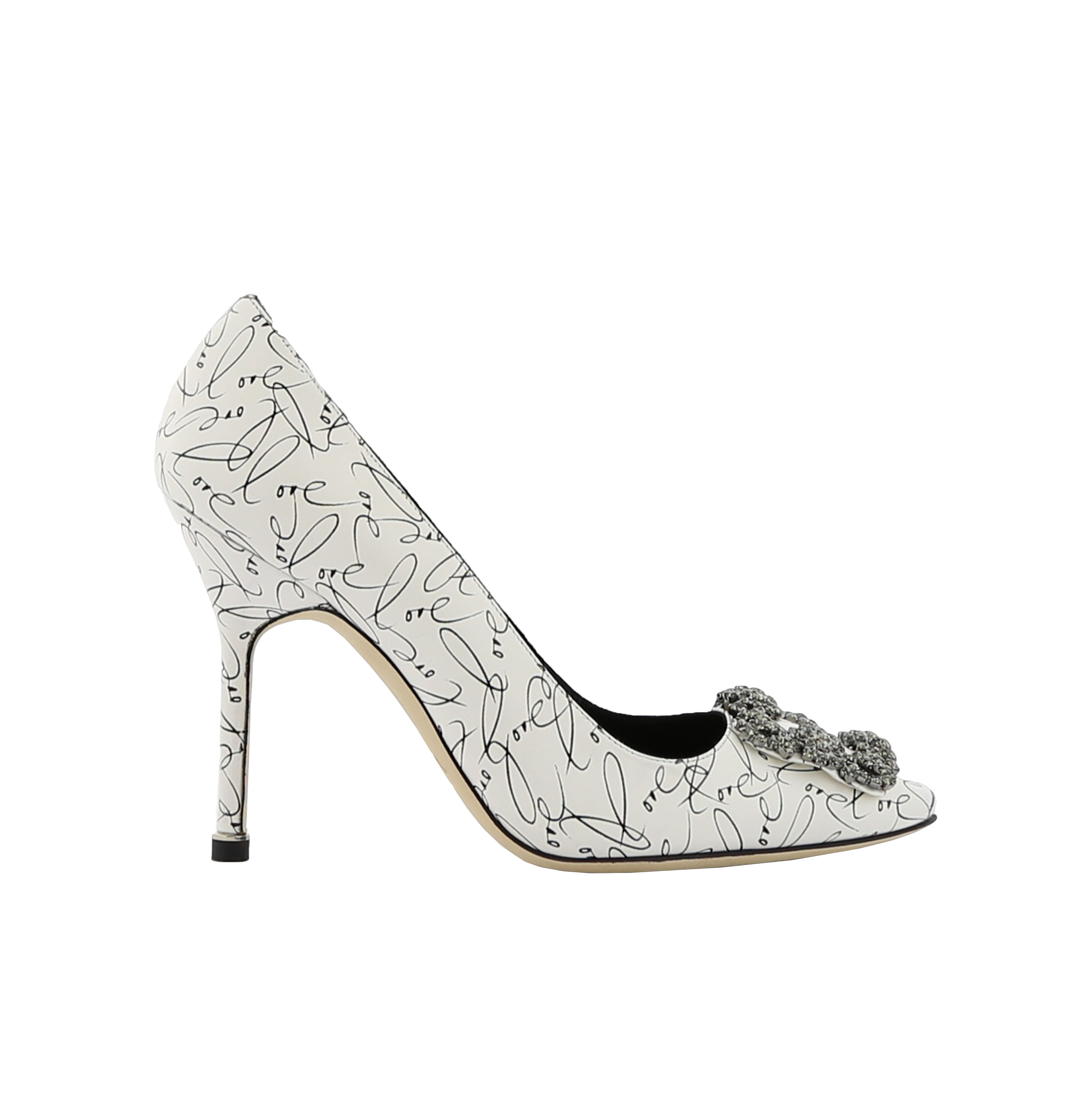 White Calf Leather Love Print Jewel Buckle Pumps