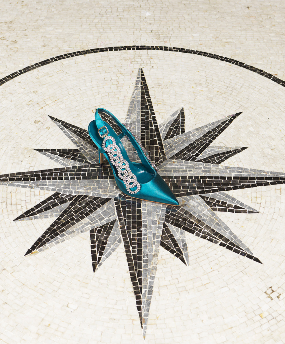 The Pingar, is a sling back shoe. It is positioned on top of a star shaped mosaic in the Wallace Collection.