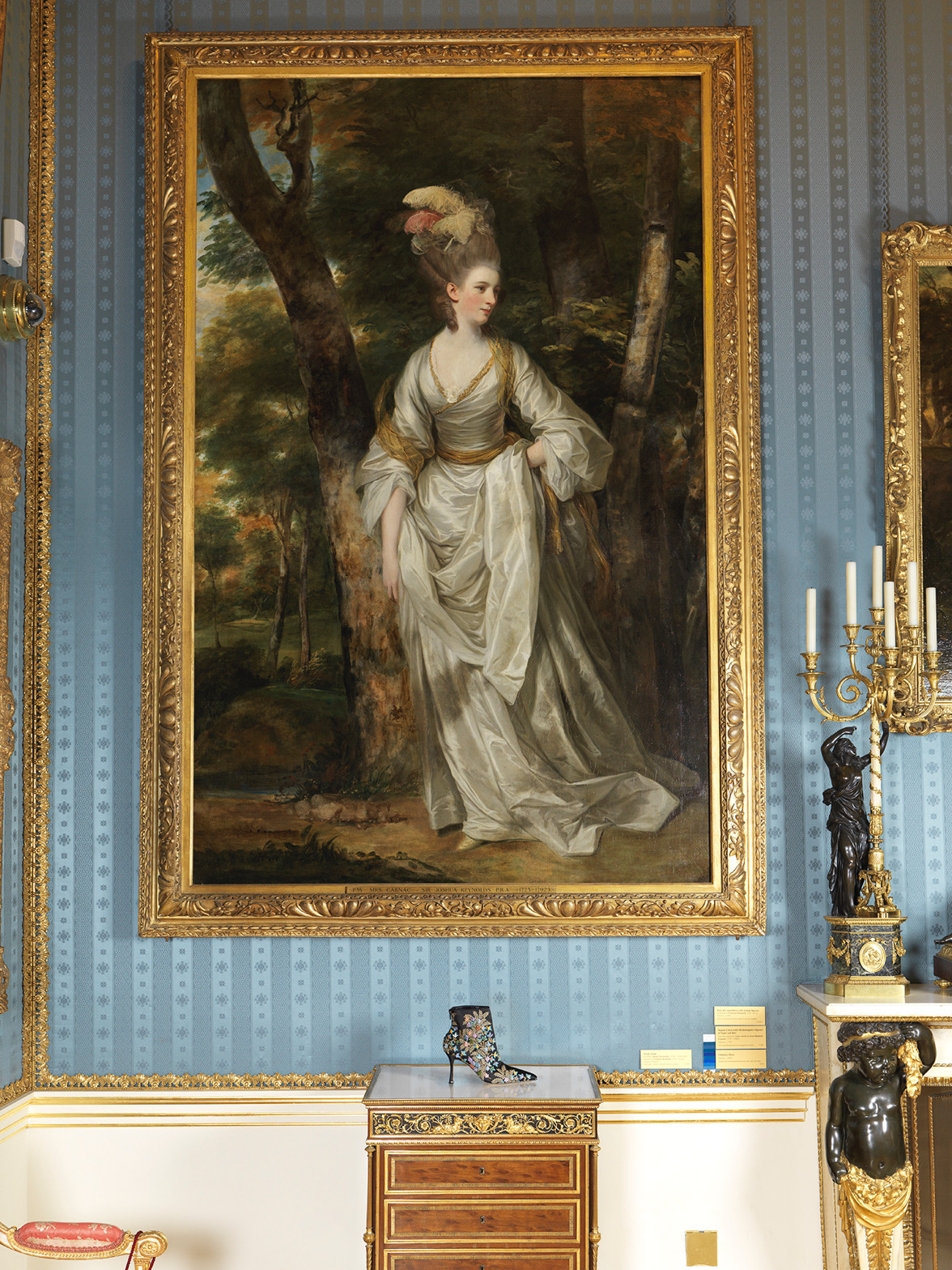 The Lepanto boot is positioned in front of Joshua Reynold's painting of Mrs Elizabeth Carnac.